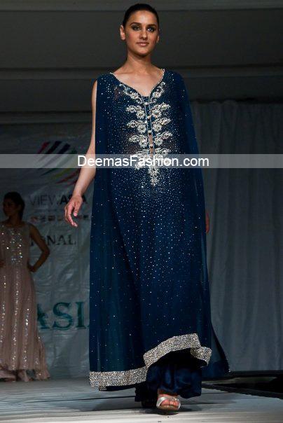 Latest Designer Wear Collection Navy Blue Formal Dress