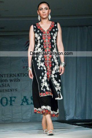 Pakistani fashion Dress - Black Red Party Wear