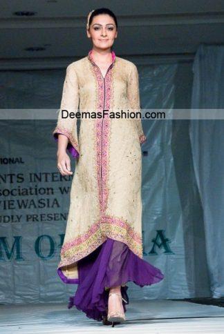 Latest Formal Wear Collection - Beige Purple Sharara