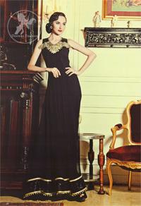 Black Evening Dress Embellished Neckline