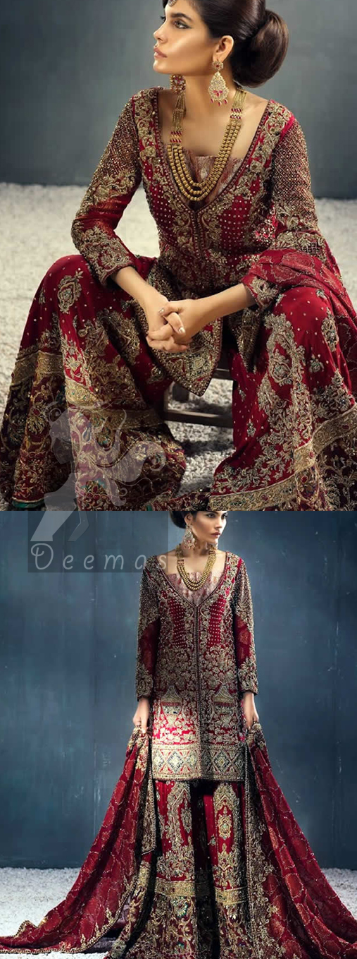Deep Red Heavy Shirt Sharara Dupatta for Barat