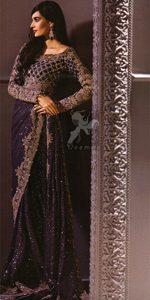 Dark Purple Designer Wear Embroidered Saree