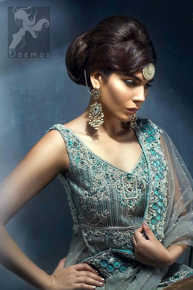 Designer Wear Wedding Dress Light Grey Double Layer Back Trail Frock Lehenga Dupatta