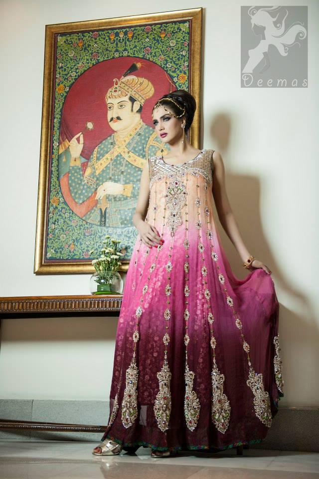 Latest anarkali dress triple tone heavy embroidered pishwas and churidar