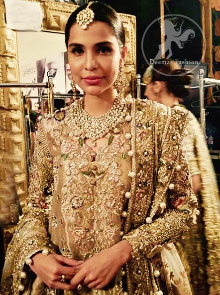 Latest Pakistani Bridal Dress Light Fawn Fully Embroidered Double Layer Pishwash Dupatta