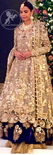Latest Pakistani Bridal Dress Light Fawn Fully Embroidered Double Layer Pishwas