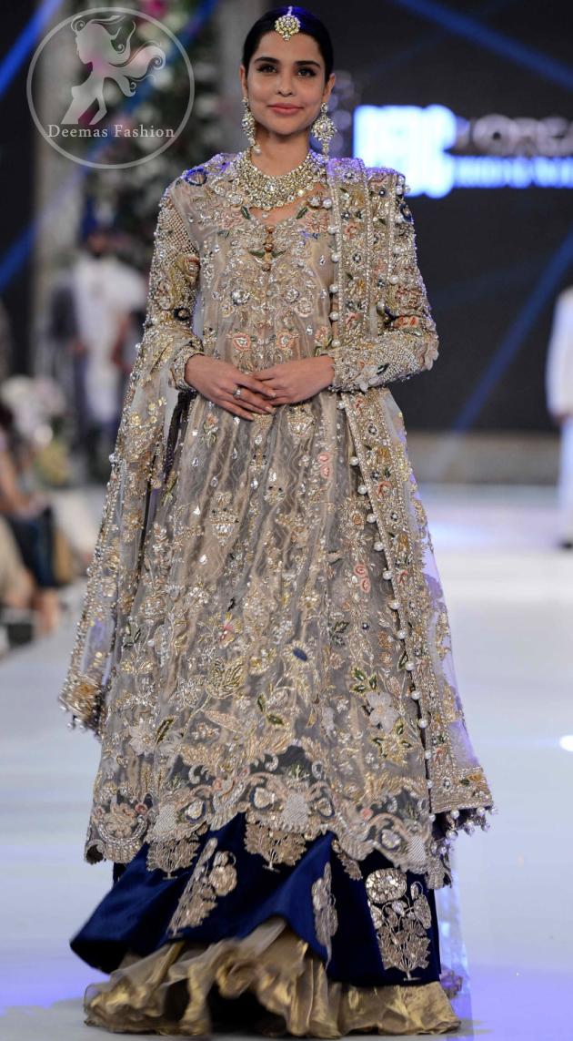 Latest Pakistani Bridal Dress Light Fawn Fully Embroidered Double Layer Pishwash Dupatta with Golden Lehenga
