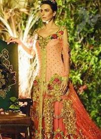Pakistani Bridal Wear Triple Tone Back Trail Gown