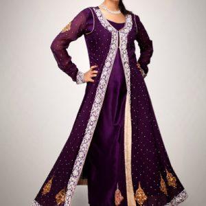 Purple Front Open Semi Formal Gown