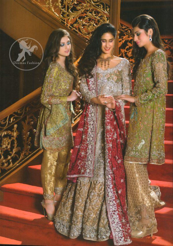 Golden Brown Banarsi Bridal Shirt and Lehenga with Deep Red Dupatta