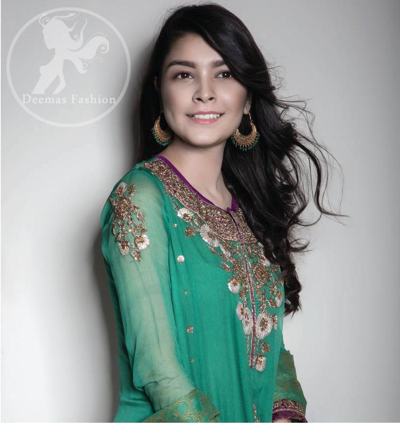 Dark Green Anarkali Frock - Churidar Pajama