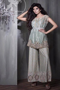 Party Dress 2017 - Light Green Short Shirt -Silver Bell Bottom Pants