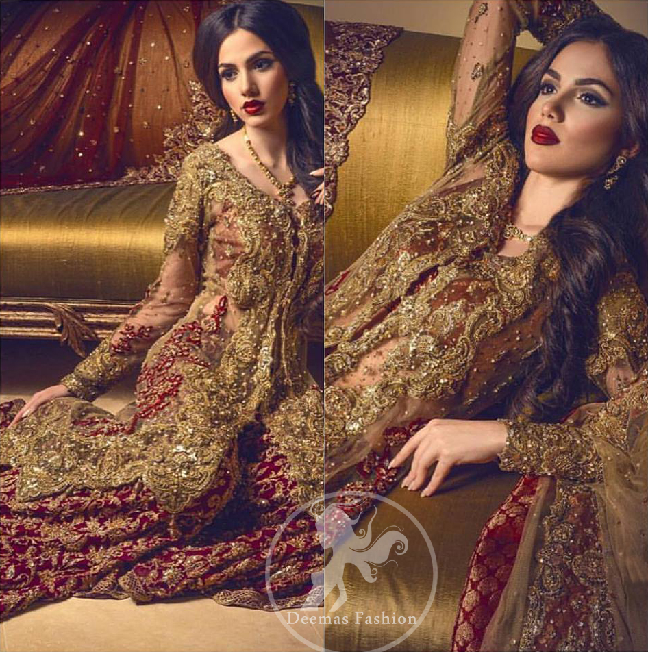 Bridal Wear Sharara - Light Fawn Front Open Gown - Deep Red Sharara