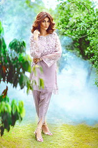 Casual Dress 2017 - Light Purple Short Shirt - Tulip Shalwar