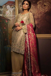 Light Fawn Short Shirt - Embroidered Trousers - Deep Pink Jamawar Shawl