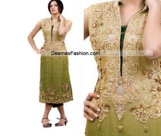 Pakistani Latest Fashion - Mehndi Green Formal Dress