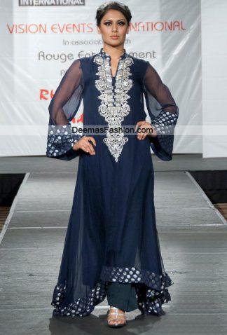 Pakistani Formal Wear - Stylish Navy Blue Silver Dress