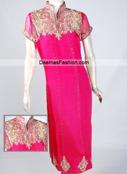 Latest Pakistani Party Wear - Shocking Pink Dress