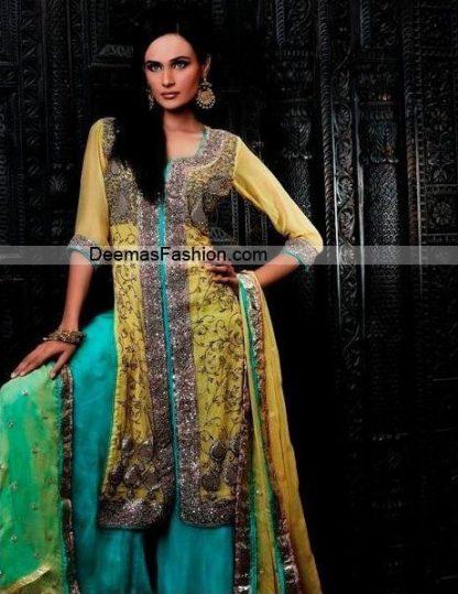 Designer Wear Dress - Yellow Ferozi Sharara