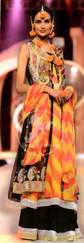 Black-and-Orange-Double-Layer-Gown-Lehnga