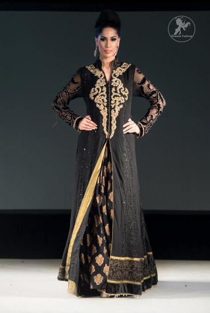 Black Full Length Back Trail Gown with Banarsi Skirt