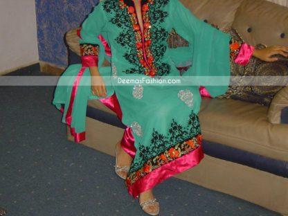 Buy Pakistani Clothes Sea Green Casual Wear Designer Dress