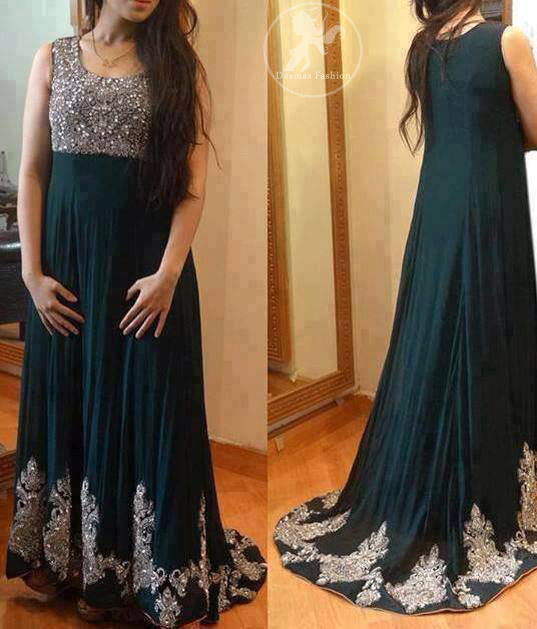 Dark Teal Back Trail Maxi with Embellished Bodice