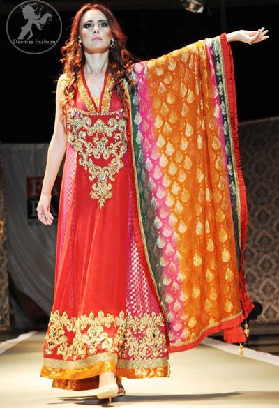 Deep Red & Shocking Pink Mehndi Wear Frock