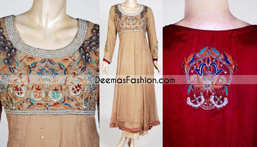Designer Collection - Beige & Red Anarkali Frock Dress