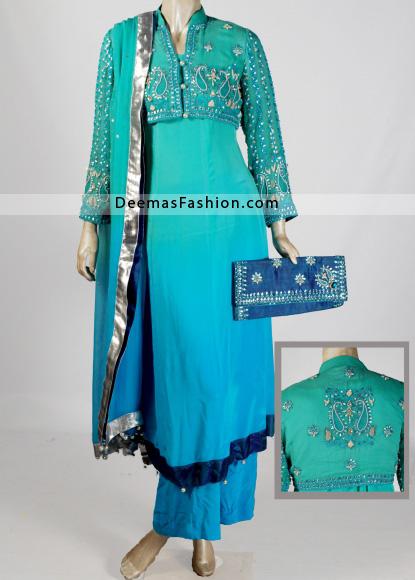 Designer Wear Anarkali Frock - Sparkling Blue