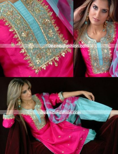 Ladies Fashion - Shocking Pink & Ferozi Shalwar Kameez Dress