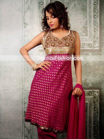 Designer Wear - Latest Anarkali Style Dark Pink Frock