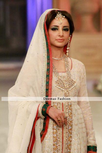Latest Designer Collection 2013 Ivory White Front Bridal Wear Open Anarkali