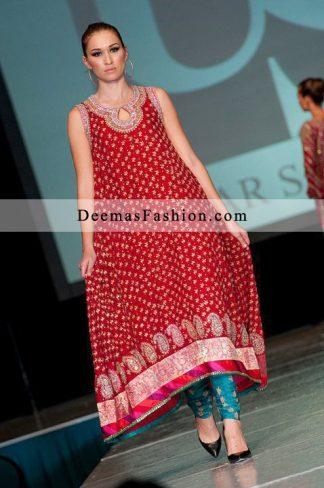 Latest Formal Wear Red Ferozi A-Line Dress