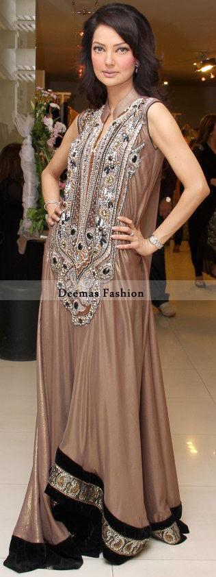 Latest Light Brown Heavy Neckline Long Anarkali Dress
