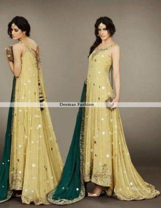 Latest Bridal Mehndi Wear Yellow Back Trail Pishwas