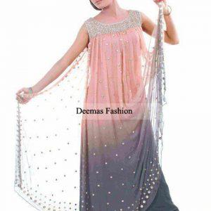 Latest Pakistani Anarkali Dress Peach Grey Frock
