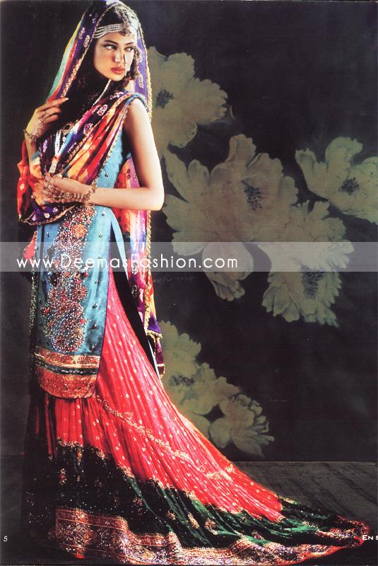 Traditional Pakistani Bridal wear - White & Golden Lehnga