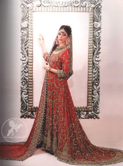 Latest Pakistani Deep Red Back Trail Traditional Bridal Wear Pishwas