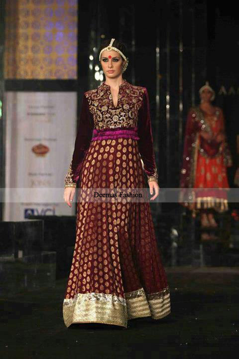 Latest Pakistani Designer Dress 2016 Maroon Anarkali Pishwas