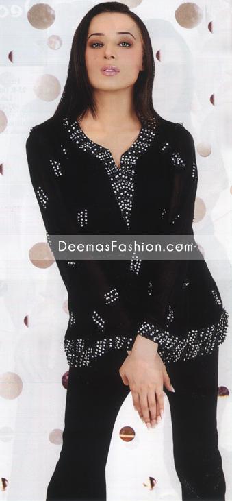 Latest Pakistani Fashion - Black Silver Kurti