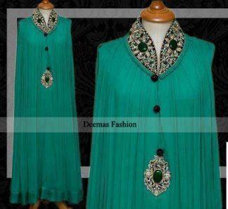 Latest Pakistani Designer Wear Sea Green Party Dress