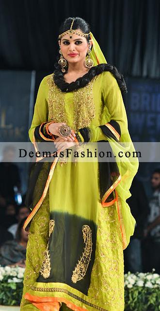 Latest Bridal Wear Fashion Mehndi Bottle Green A-Line Dress