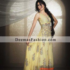 Light Yellow Classical Anarkali Pishwas