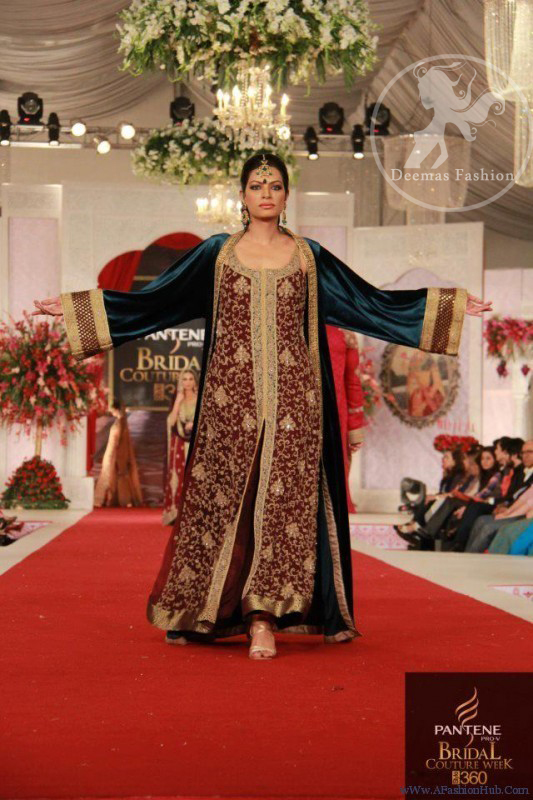 1ba0c0284cf1 Maroon Fully Embellished shirt with Teal Blue Front Open Gown