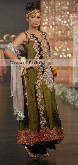 Latest Mehndi Green Designer Wear Frock
