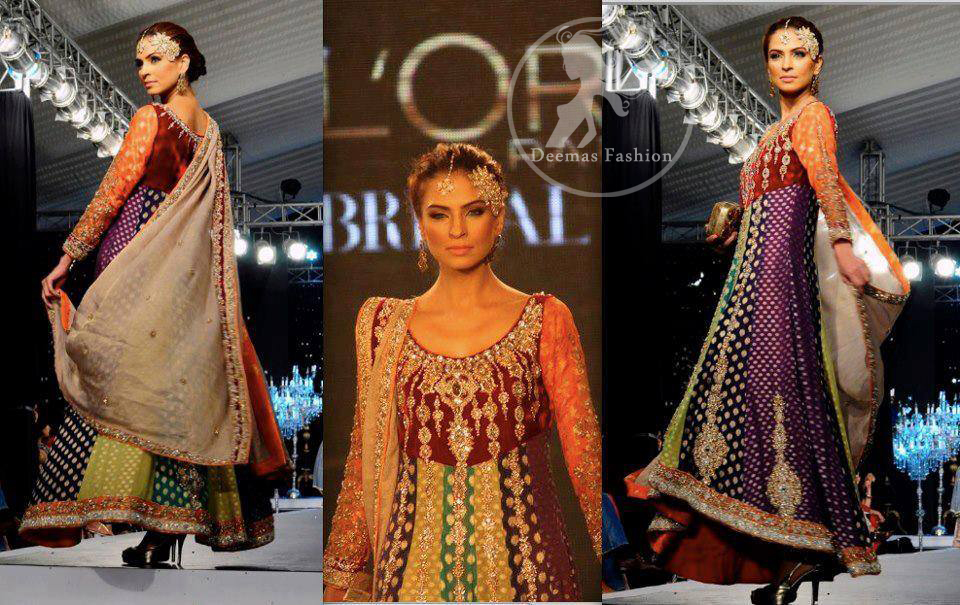 Multi Panel Embroidered Frock And Churidar
