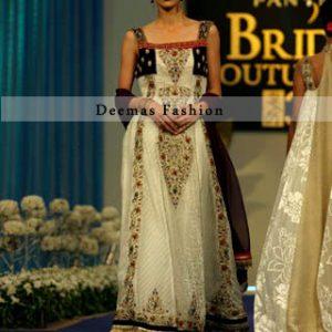 Latest Anarkali Dress in Off White n Black Colour