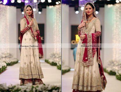Off White Red Heavy Bridal Sharara