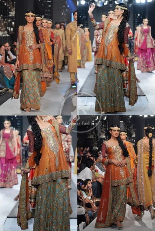 Orange Mehndi Wear Frock Embroidered Sharara